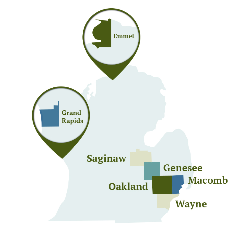 Michigan Home Care Service Area Map: Wayne, Oakland, Macomb, Genesee, Saginaw, Emmet, & Grand Rapids